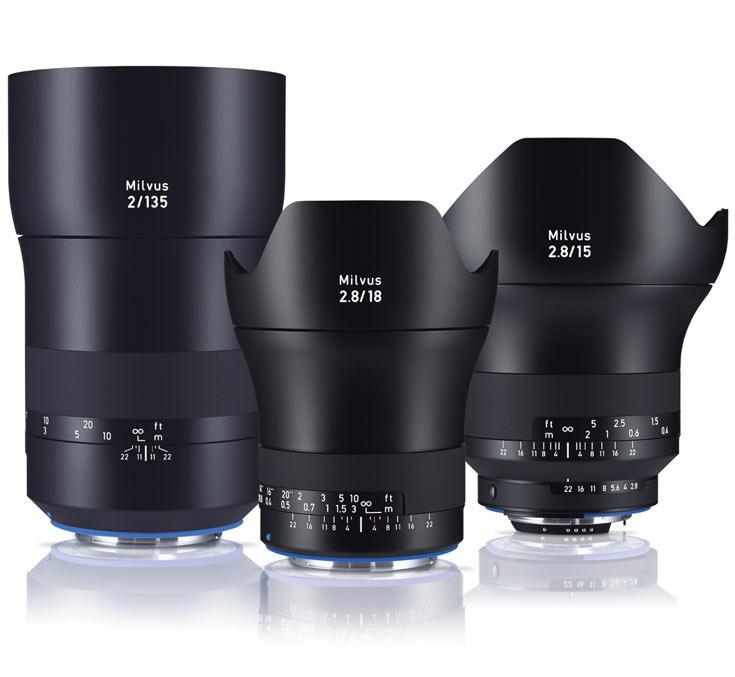 Рекомендованная цена Zeiss Milvus 2.8/15 примерно равна 2700 евро, Zeiss Milvus 2.8/18 — 2300 евро, Zeiss Milvus 2/135 — 2200 евро