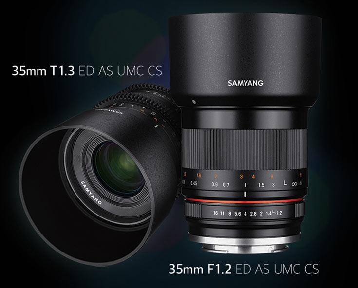 Продажи объективов Samyang 35mm F1.2 ED AS UMC CS и 35mm T1.3 ED AS UMC CS должны начаться в сентябре