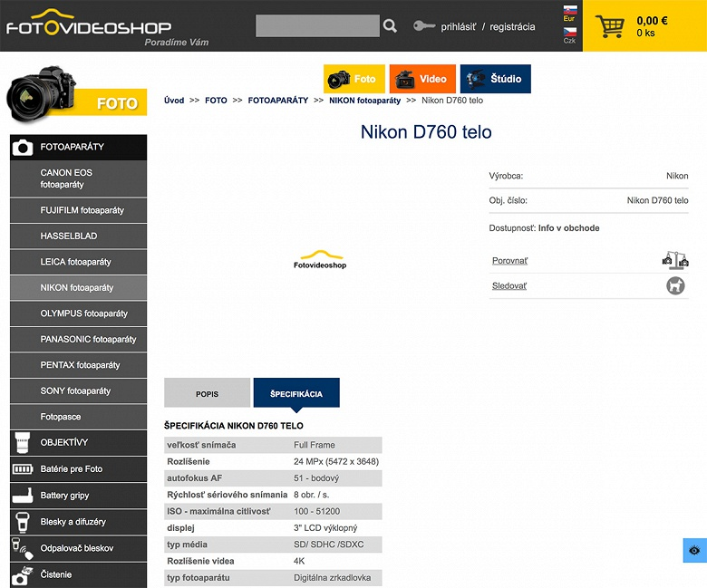 В словацком магазине ненадолго появилась страничка с данными камеры Nikon D760