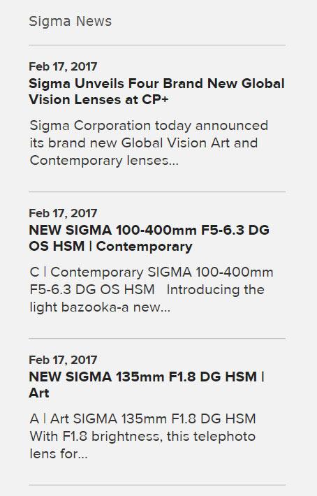 Одна из новинок — телеобъектив Sigma 100-400mm F5-6.3 DG OS HSM | Contemporary